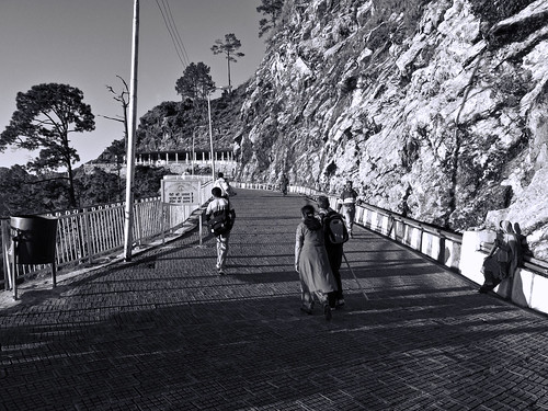 People walking on the path leading to shrine of Vaishno Devi
