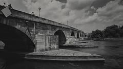 Steinerne Brcke (Linus Wrn) Tags: leica travel bridge blackandwhite bw monochrome river germany bayern bavaria blackwhite backpacking regensburg danube donau stonebridge leicadlux5