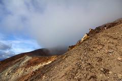 Mist in Red Crater, Tongariro Crossing (Emily Miller Kauai) Tags: newzealand mist volcano crossing patrick hike alpine northisland tongariro