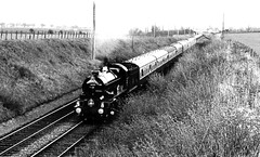 Mayflower 001 (FrMark) Tags: uk england monochrome train britain railway steam gb 70s locomotive seventies midlands
