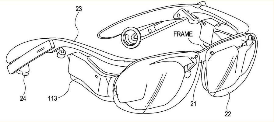 Патент на очки от Sony