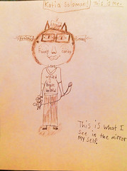 "#Katia drawing, ""All about me"" (tracysolomon) Tags: survivor childrenscancer inspiredartist bethematch tracysolomon katiasolomon kharactersbykatia kittykatia"
