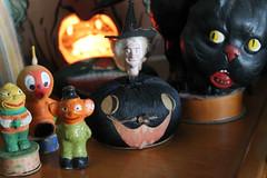 German & Japanese Pieces (ghostofhalloweenspast) Tags: blackcat witch veggieman vintagehalloween