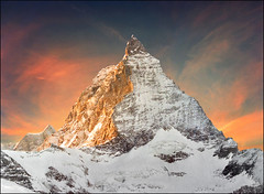 One of many faces -  If you reblog the photo please leave a link to the original! Thanks!!! (Katarina 2353) Tags: pink blue winter light orange cloud white mountain snow alps color fall film nature analog alpes landscape photography schweiz switzerland photo nikon image swiss peak paisaje landmark fields zermatt matterhorn paysage katarinastefanovic katarina2353 gettylicense weekendinswitzerland weekendinswissalps