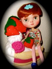 Amélia on her strawberry felt tarte sofa ❤