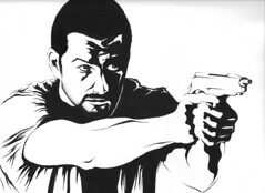 Antony Starr (DJCHOP47) Tags: new man art contrast sketch high eyes gun action drawing paddle banshee pop lips lucas zealand actor hood sheriff antony without starr cinemax