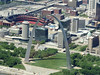 St. Louis Arch and Busch Stadium (geoffeg) Tags: city flying downtown arch baseball aviation stlouis aerial cardinals 2000ft stlcards