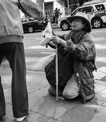 Sharing (JohnMinSF) Tags: sanfrancisco street city blackandwhite bw pentax sony homeless alpha a7 40mmlimited ilce7
