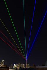 Global Rainbow (dtstuff9) Tags: white toronto ontario canada tower art skyline night cn rainbow lasers blanche nuit global 2014
