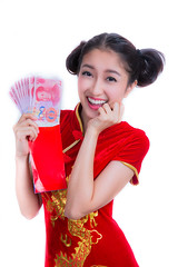 happy chinese new year (anekphoto) Tags: china new red woman money smile face festival asian thailand happy spring outfit asia expression background year rich chinese young culture chinesenewyear newyear blessing business lottery gift luck thai envelope bonus win copyspace wish tradition eastern success celebrate congratulation abundance currency isolated wealth qipao finance redenvelope chipao cheongsam redbackground 2015 2015year