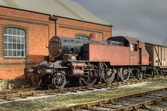 41313 is seen outside Cranmore engine shed, midway through the shunt to get the loco into the workshop (Doddle Bug) Tags: heritage tank rail railway somerset steam east restoration locomotive preserved mallet esr railways isle wight 262 cranmore 262t shepton ivatt 41313 2mt iowsr iwsr