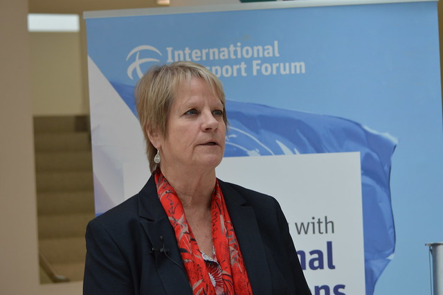 Helen Marano, Vice President of Gov't and Industry Affairs, World Travel and Tourism Council (WTTC) being interviewed during the ITF's Consultation Day with International Organisations in preparation for the 2015 Summit