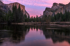 Valentine's Sunset in Yosemite (Darvin Atkeson) Tags: california winter sunset mountains fall forest reflections river waterfall nationalpark view nevada merced falls sierra valley yosemite bridalveil elcapitan darvin atkeson darv lynneal yosemitelandscapescom