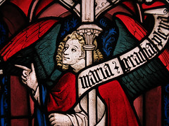 The Angel Gabriel, Annunciation angel - Medieval stained glass window (Monceau) Tags: paris gabriel window angel stainedglass medieval pointing angelgabriel annunciation musedecluny