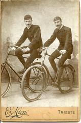 Two bikers (elinor04 thanks for 24,000,000+ views!) Tags: two men bike sport vintage photo victorian bikes biker bikers trieste bycicle triest 1890s cabinetcard austriahungary sportsmen mioni ernestomioni