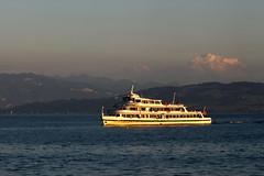 Lake Constance (Wackelaugen) Tags: light sunset sea sky lake mountains water canon germany photography eos photo europe ship bodensee constance googlies wackelaugen