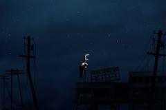 man at work () Tags: light night photoshop hongkong streetlamp apocalypse worker manipulate