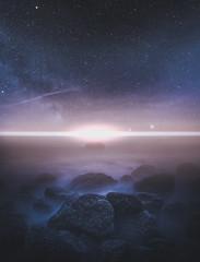 Unexamined worlds (unijaz) Tags: ocean light seascape nature water suomi finland stars landscape rocks universe milkyway