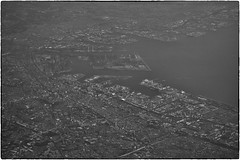 Tokyo Harbor, May 14, 2016 (Maggie Osterberg) Tags: bw japan tokyo blackwhite hasselblad stellar unitedairlines aerialphotograph maggieo silverefexpro2