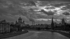 darkness (Sergey S Ponomarev) Tags: sergeyponomarev canon 600d ef24105f40l city citta mosca moscow captital europe russia russie russland river water night winter clouds cathedral church kremlin smoke darkness chimneys bridge walls bw february 2015 2014 inverno febbraio landscape paysage paesaggio cityscape                     tourims tourist journey travel landmark