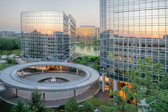 Research Forest, The Woodlands (Robert Holler Photography) Tags: sky reflection glass skyscraper evening texas dusk pastel houston thewoodlands montgomerycounty