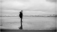 The Apprentice . (wayman2011) Tags: uk people bw beach mono coast seaside seascapes northumberland alnmouth canon5d lightroom wayman2011