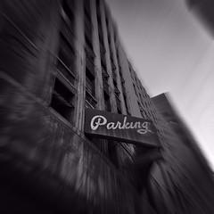 Parking (pam's pics-) Tags: cameraphone urban bw sign colorado parkinggarage denver pinhole co downtowndenver pammorris pamspics hipsta appleiphone mobilephonephotography hipstamatic iphone6s