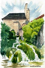 Condat sur Vzre (Cat Gout) Tags: moulin sketch dordogne prigord watercolors cascade