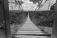 hanging bridge (quietusleo) Tags: blackandwhite monochrome architecture landscape israel desert negev
