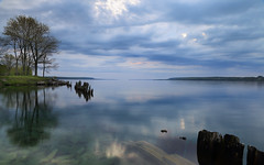 Sharing Space (Note-ables by Lynn) Tags: water clouds sunrise reflections skies georgianbay shoreline colpoysbay