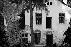 Haunted mansion (Mikhaius) Tags: windows bw house architecture haunted creepy transylvania vampires wrecked braov