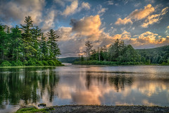 A-June-Sunrise (desouto) Tags: flowers sky nature water clouds stream stones lakes ponds hdr