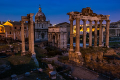 Roman Forum at Blue Hour (LuxTDG) Tags: fori imperiali rome roma the eternal city città eterna capital world colonne columns monumenti monuments cielo sky nuvole clouds ora blu crepuscolo dusk luci lights notte night capitale lazio italy italia foriimperiali theeternalcity cittàeterna romaeterna capitaloftheworld romaaeterna caputmundi