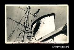 Shell damage to the funnel of HMAS SYDNEY (II) (Australian National Maritime Museum on The Commons) Tags: worldwarii wwii ww2 hmassydney hmassydneyii arthurthomaswood royalaustraliannavy ran navy navalvessel navalpersonnel ship bartolomeocolleoni hskkormoran cruiser crete singapore greece australia westernaustralia 1930s 1940s 1941