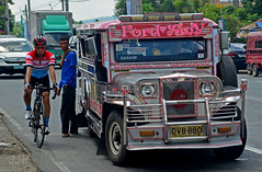 Tour de Philippines (Luzon Jim) Tags: road bicycle wheel cyclist outdoor philippines transport engine wideangle tires vehicle popular jeepney excersise nikond5100