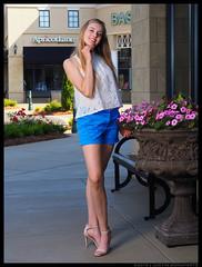Emma - Queen of Peace (jfinite) Tags: flowers summer beauty fashion model legs environmental portraiture heels shorts sheer