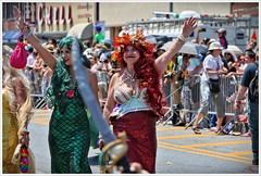 'Mermaid & Nymph -- the perfect together...' (Alexxir) Tags: new york gay red white black flower green hat leaves sunglasses june hair bag island photography star big women long day dress purple dancing lace pair bra jewelry sneakers parade transgender lgbt scales topless marching huge devil bead shorts homosexual mermaid coney lesbians cleavage 18 raven pasties transsexual headwear costumejewelry twowomen 2016 bigbust greenwig newyorkphotography hugecleavage