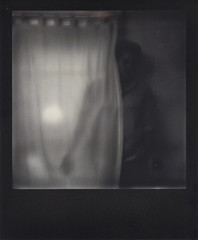 Day 037 (H o l l y.) Tags: portrait bw white black blur color film girl analog self vintage project dark polaroid photo alone sad no ghost retro creepy indie instant curtains impossible