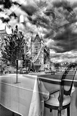 Dinner For One - Tower Bridge London by Simon & His Camera (Simon & His Camera) Tags: city bridge sky people urban blackandwhite bw cloud abstract reflection building tree london tower window glass monochrome skyline architecture table mirror chair iconic simonandhiscamera