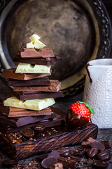 Chocolate / Chocolate bar / chocolate background/chocolate tower and strawberry (azimavu) Tags: chocolate sweet sweets dessert background food delicious brown cocoa dark gourmet white tasty eat assortment snack chocolates gift sugar black cream bonbon bar milk bitter ingredient calorie confectionery wooden cacao fat many group tower stack piece texture hazelnut broken slice berrie strawberry red chocolatebean