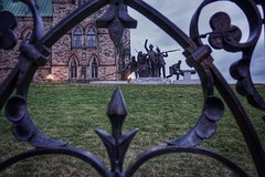 War of 1812 monument (beyondhue) Tags: fence public art statue east lawn canadian parliament beyondhue iron ottawa ontario canada frame monument 1812 war triumph through diversity adrienne alison