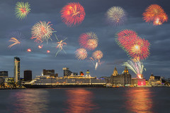 Fireworks! (Paul's Picx) Tags: cunard liverpool mersey cruise fireworks river threegraces riverfront waterfront port celebration