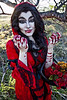 Through the woods 7675 (JoDi War) Tags: trees sunset red wild nature grass fairytale dark lost blood woods wolf dress boots lace gothic victorian velvet hood storybook rhyme grandmothershouse nurseryrhyme throughthewoods storytale