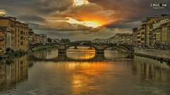 Firenze under lights. (Jean McLane) Tags: city sunset italy clouds lights italia cloudy nubes pont firenze arno nuages italie