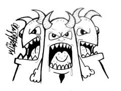graffiti sticker devils (marcomacedo3) Tags: cholowiz graffiti sticker nazer26 mtsk paste stamp slaps collabs spraycan trade