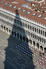 Campanile Shadow (Crumblin Down) Tags: world city blue venice shadow sky italy panorama white color colour reflection green tower clock church water beautiful st statue skyline square gris mirror climb canal marine san colorful italia pattern ship view display bell mark top basilica library military navy lion sailors grand arches books panoramic belltower clocktower marks campanile most tables marco gondola colourful venezia viewing overhead verdi amerigo vespucci