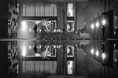 longing... (krelina) Tags: city longexposure light people urban blackandwhite bw love water night germany deutschland licht blackwhite wasser nacht pair nrw sw spiegelung bielefeld liebe reflextion kunsthalle langzeitbelichtung schwarzweis nachtansichten