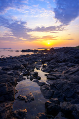 One at Cape Hado (www.jasonarney.com) Tags: ocean blue orange sun beach japan sunrise coast rocks purple pacificocean  cape saga kyushu karatsu       karatsucity hadomisaki  chinzeimachihado capehado