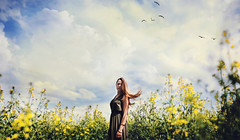 free your mind. (stefanheider) Tags: flowers light portrait sky woman girl beautiful yellow clouds canon bavaria fly amazing cool flickr day dress loveit strong shooting today stay hairs markii