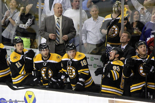 Bruins bench watching the play